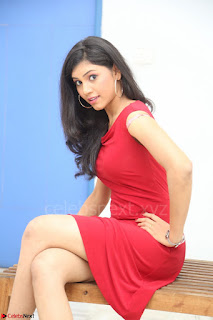 Mounika Telugu Actress in Red Sleeveless Dress Black Boots Spicy Pics 012.JPG