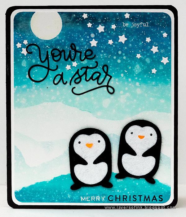 Layers of ink - Penguin Winter Scene Tutorial by Anna-Karin Evaldsson, for the SSS DieCember Blog Hop
