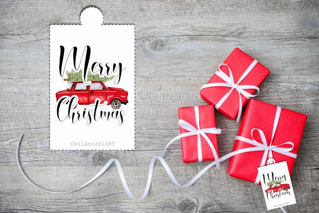 Merry Christmas gift tags template