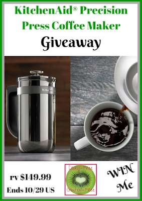 Enter the KitchenAid Precision Press Coffee Maker Giveaway. Ends 10/29