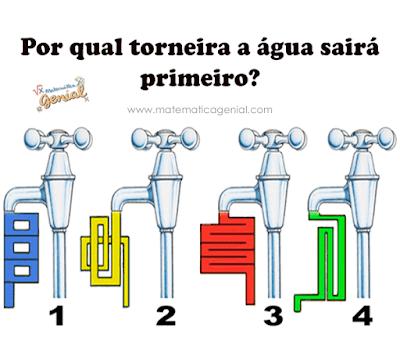 Desafio Torneira: Por qual torneira a água sairá primeiro?