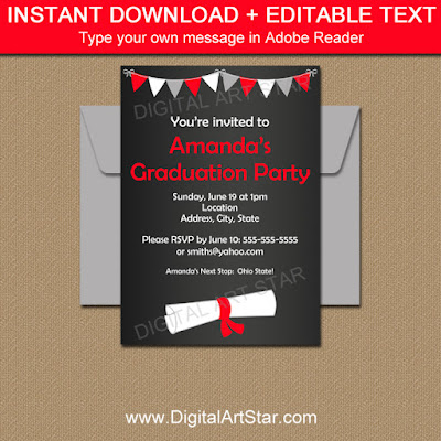 chalkboard graduation invitation printable