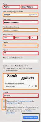 Form pendaftaran membuat email gmail layanan google