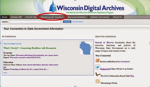Screen shot of the Wisconsin Digital Archives homepage