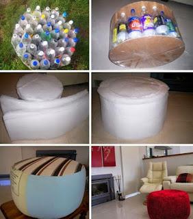 Kerajinan Tangan Kursi Sofa dari Botol Bekas