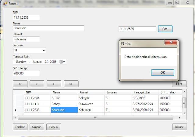 run+cari - Koneksi Sql Server Dengan Microsoft Visual Studio