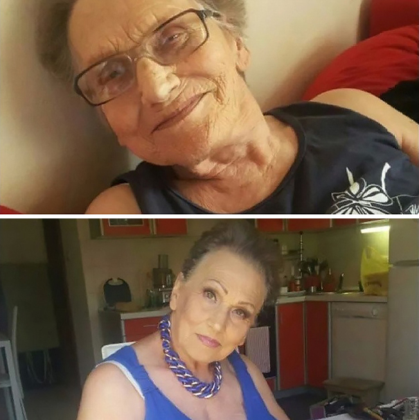"""I love my granny Livia,"" says Croatian makeup artist Tea Flego - 80-Year-Old Grandma Asks Her Granddaughter For A Makeup, Becomes Internet Sensation"