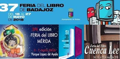 FERIA LIBRO BADAJOZ, MÉRIDA, CUENCA Y VALLADOLID