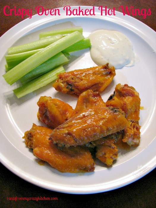 Crispy Oven Baked Hot Wings, a #wingweek guest post by Rants From My Crazy Kitchen