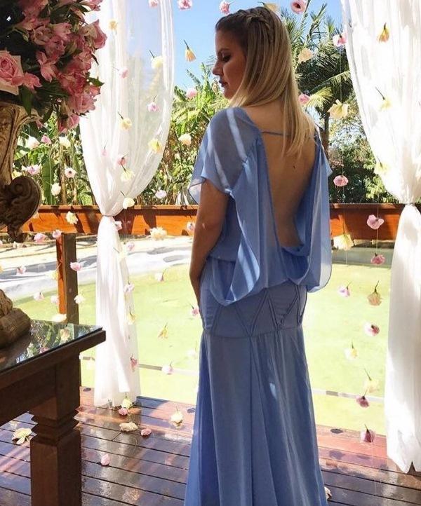 vestido de festa azul claro madrinha ou convidada