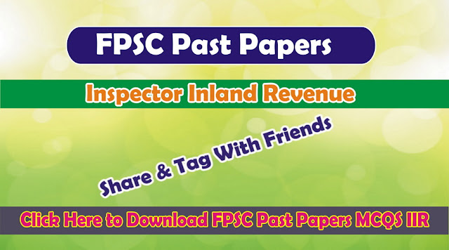 Inspector Inland Revenue Past Paper