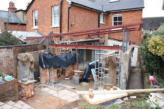 Building site for kitchen extension: wall building