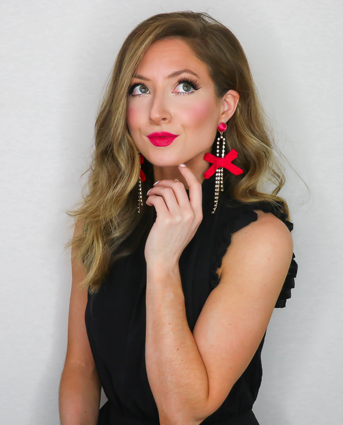 sugarfix by baublebar hot pink drop earrings with bows
