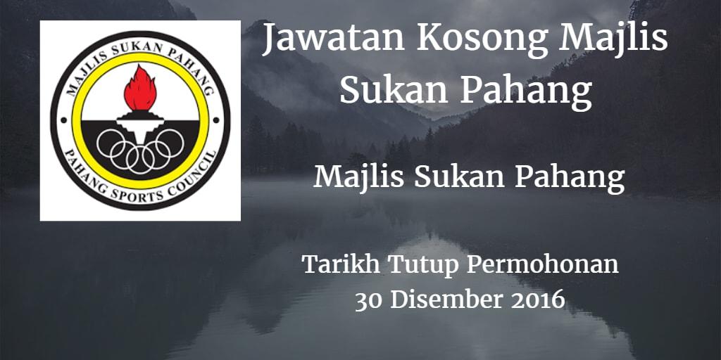 Jawatan Kosong Majlis Sukan Pahang 30 Disember 2016