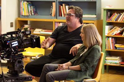 Amanda Seyfried and Mark Pellington on the set of The Last Word (1)