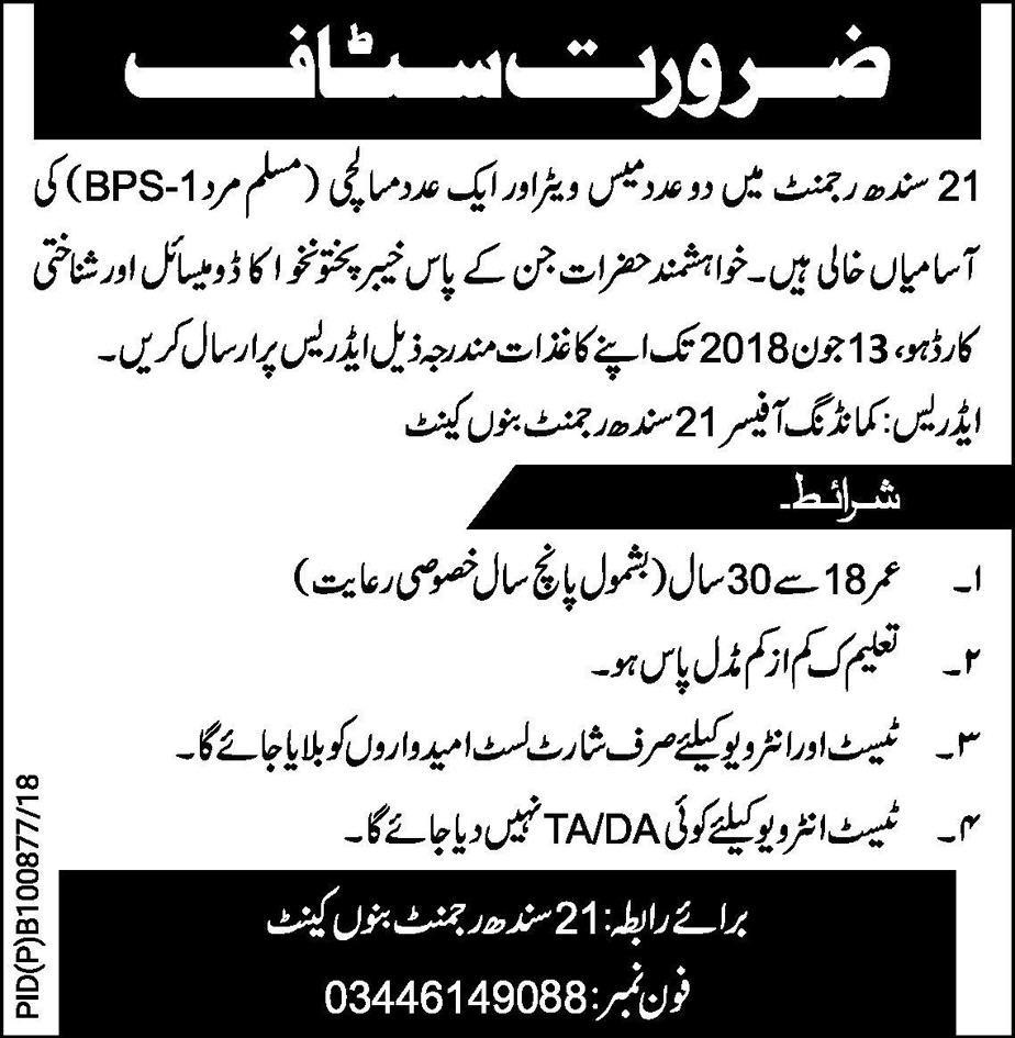 Latest Jobs in sindh Regiment Bannu Cantt