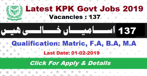 New Latest KPK Jobs 2019 | Total 137+ Vacancies in Directorate