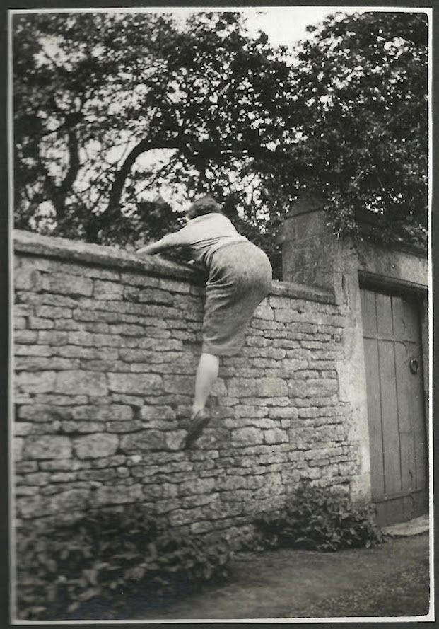 1950s photo of a young lady Climbing the garden Wall in a skirt. The Garden Wall. marchmatron.com