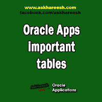 Oracle Apps important tables, www.askhareesh.com