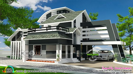 Mixed roof ultra modern home design