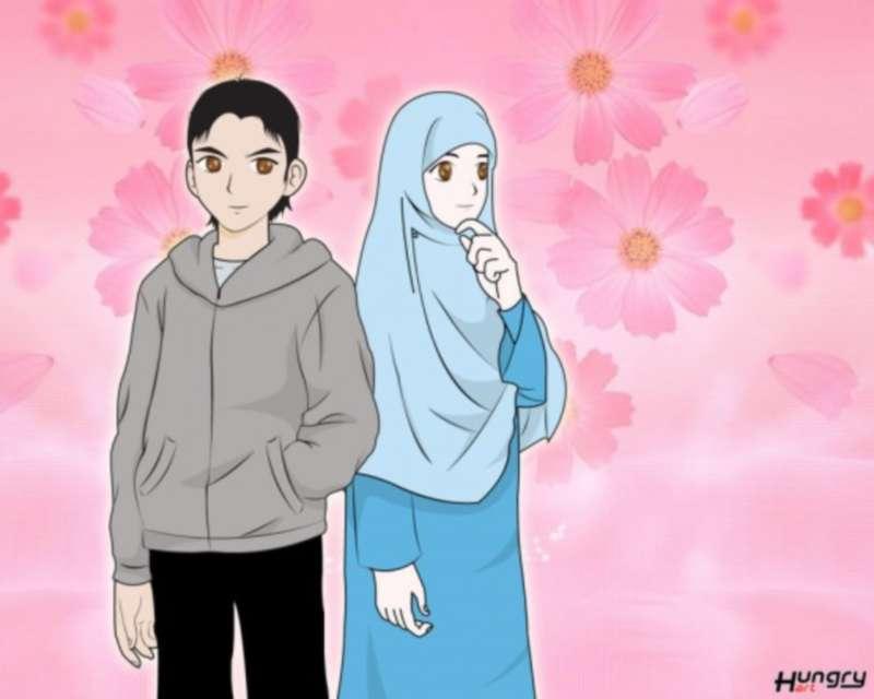 Gambar Kartun Couple Muslimah Romantis Ala Model Kini