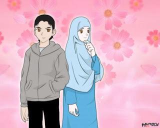 kartun islami pasangan romantis berjilbab