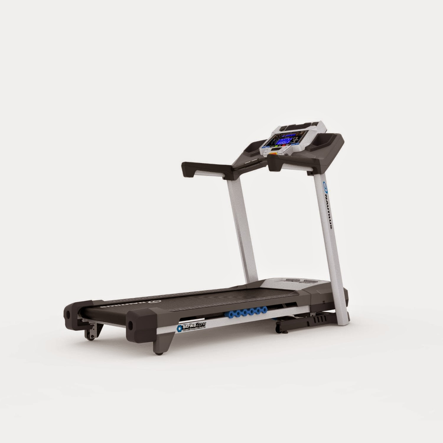 Nautilus T616 Treadmill, review plus compare with T614, folding deck, cushioned deck, dual blue backlit LCD display, 3 CHP, 0-12 MPH, 0-15% incline, 26 programs, acoustic chambered speakers, MP3 input, USB charging port & data export, goal tracking