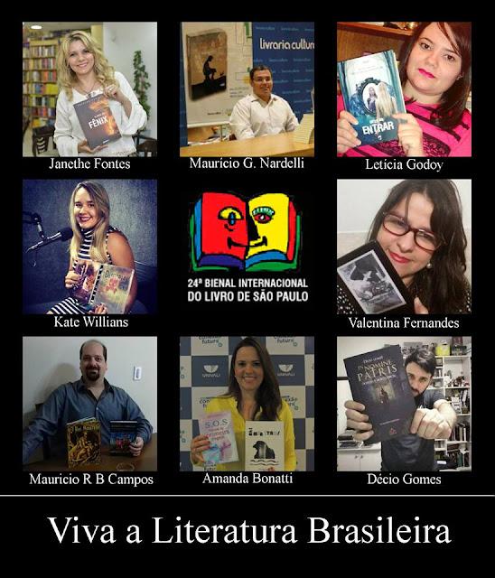 Autores participantes da iniciativa Viva a Literatura Brasileira e suas obras em um mosaico de fotomontagem