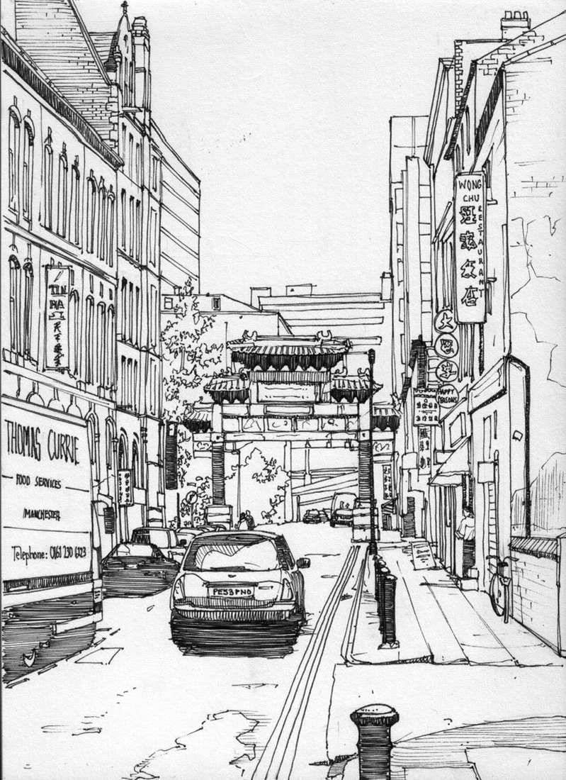 05-Chinatown-Manchester-England-Tom-Hopkinson-Drawings-of-our-Lives-Depicted-in-Urban-Sketches-www-designstack-co