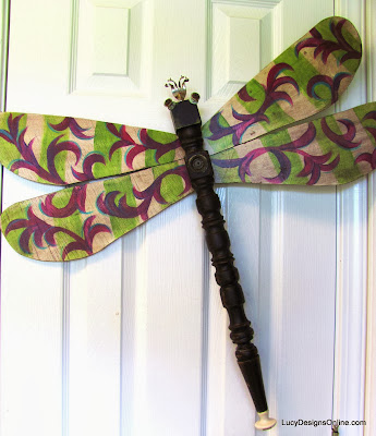 recycled purple and green dragonfly