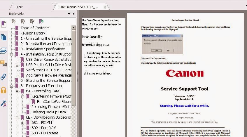 Canon SST USer Manual Screen Captured