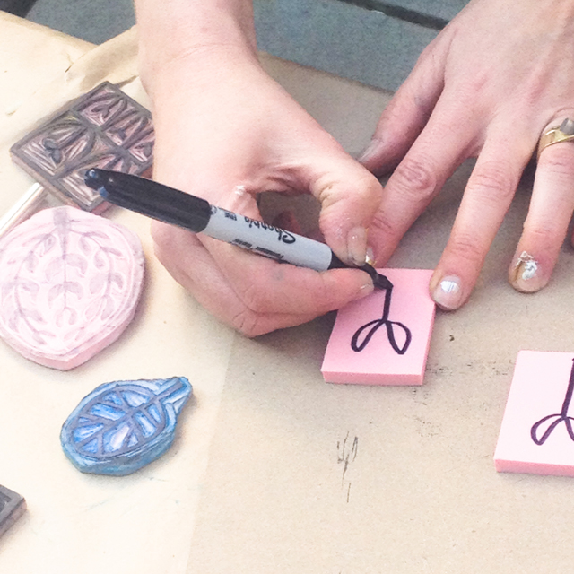 Surface printing workshop with Lotta Jansdotter | Carving Rubber Stamps | The Line Hotel | Poketo | Los Angeles California