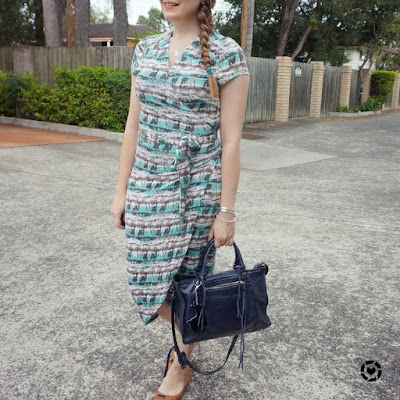 Atmos&Here Betsy jersey wrap dress in watercolour print rebecca minkoff regan navy bag | awayfromblue instagram