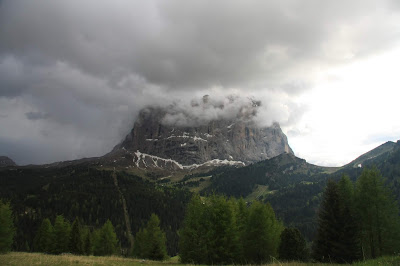 The nearby Sella Group in light and shadow.