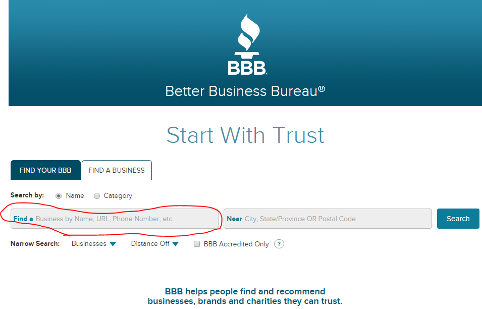 bbb.org website with highlighted area on the left