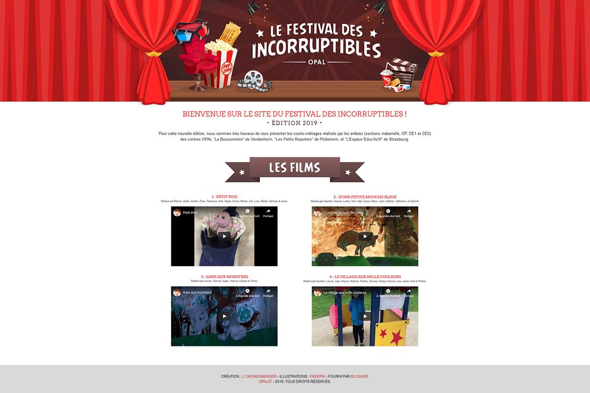 Création page web, festival des inccoruptibles