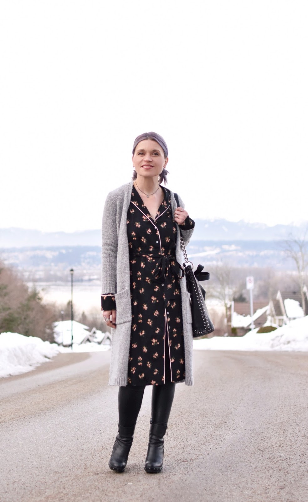 Monika Faulkner outfit inspiration - styling a pyjama-style shirtdress with a long cardigan, pleather leggings, and platform booties