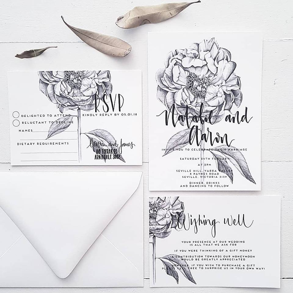 melbourne wedding invitations illustrations calligraphy