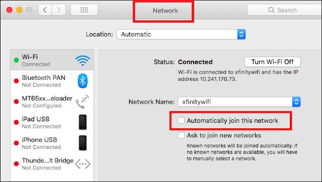 ايقاف التوصيل الاتوماتيكي لأي شبكة wi-fi في اجهزة mac