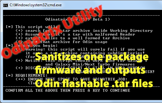 How to use Odinatrix to split one package firmware into
