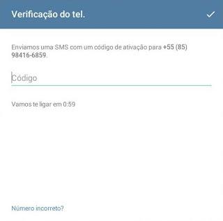 Código pra usar o Telegram