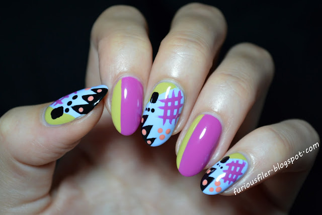 80's nails colourful doodle jazzy shapes