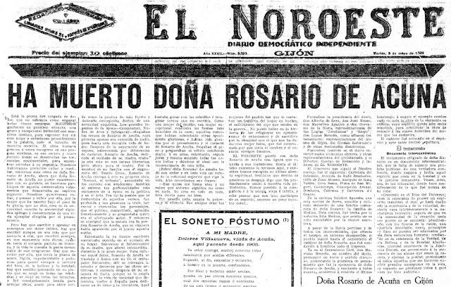Fragmento de la primera página de El Noroeste en la cual se da cuenta de su fallecimiento