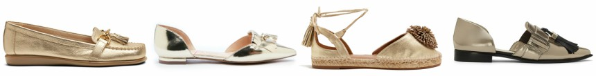 One of these pairs of gold tassel flats is from Aquazzura for $595 and the other three are under $67. Can you guess which one is the designer pair?