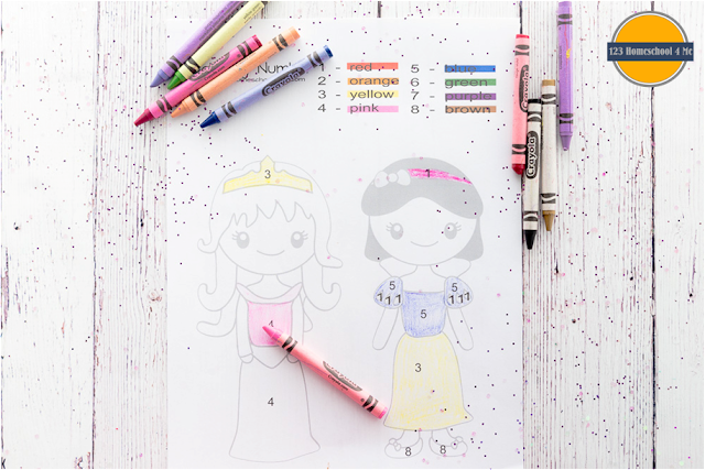 princess color by number worksheets