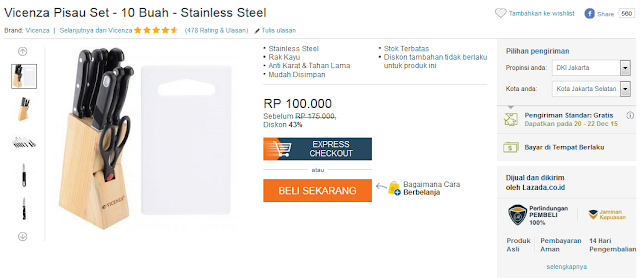 Vicenza Pisau Set - 10 Buah - Stainless Steel - Rp100.000,-