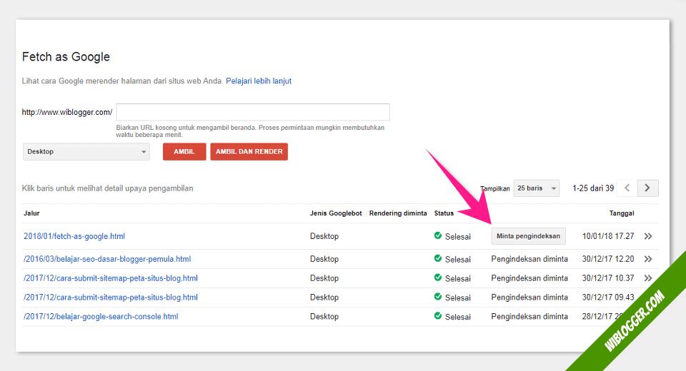 cara menggunakan fitur fetch as google