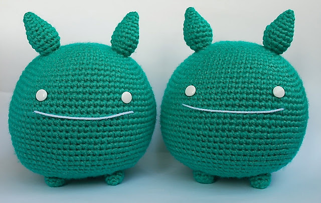 Amigurumi green monsters from the videogame company Alike