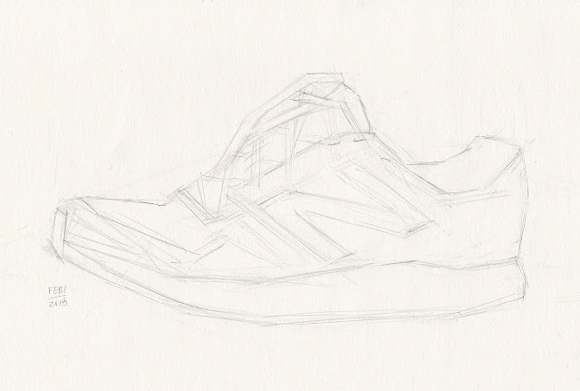 Daily Art 02-01-18 block-in practice of New Balance running shoe