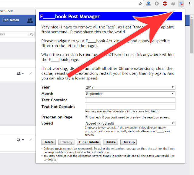 Cara Aman Menghapus Semua Status Facebook